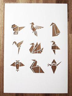 White origami bird A4 papercut by sarahlouisematthews