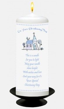 Blue Church Christening Candle