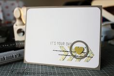 step-by-step tutorial on how to create this card: http://cardmaking.about.com/od/Step-by-Step-Cards/ss/Its-Your-Day-Card.htm  |  created by Candice of ShortcakeScraps.com