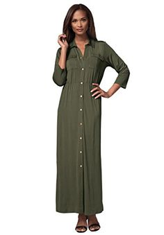 Long shirtdress with snap front and elastic at waist seam for effortless style and charm. in a shaped fit for a feminine silhouette 57 long three-quarter sleeves with set-in armholes front patch pockets with snaps back yoke, center seam, and side slits princess seams front and back above waist seam polyester/spandex machine wash; imported Maxi dresses in sizes12, 14, 16, 18, 20, 22, 24, 26, 28 Fit and Fashion Notes:Casually sophisticated, this plus size maxi dress features a defined elastic…