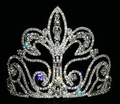 large beauty pageant crowns | 12737 - Large Fleur Di Lis Pageant Tiara Crown