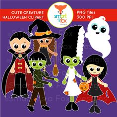 Clip Art Halloween Vampire Frankenstein Ghost Witch Creatures Clipart by Smart as a Fox Designs  ♥This collection contains 15 clip art pieces: 9 vividly colored images and 6 black and white (lineart) images. ♥All images in this set have a high resolution of 300 ppi for clear printing and to easily alter the size of the clip art.  ♥ The color images are perfect to stand out on dark Halloween backgrounds!  ♥ All images are saved as PNG files with transparent backgrounds.