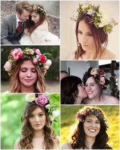 Brides wearing flower crowns
