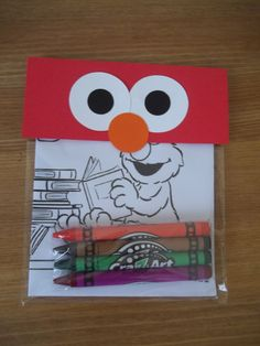 Sesame Street inspired favors - Coloring Pack , Crayons. $9.95, via Etsy.