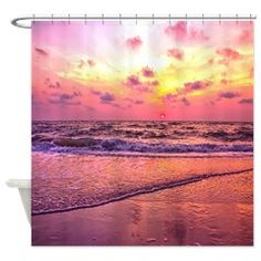 A View For The Soul Sunset Shower Curtain #showercurtain #sunset #homedecor #oceanbeach #shopping #shop #giftideas