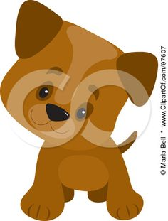 Royalty-Free (RF) Clipart Illustration of a Playful Brown Puppy With Large Paws, Cocking His Head And Facing Forward by Maria Bell