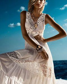 Vestido TWIN-SET Largo Blanco Elaborado a Mano    http://galery.es/tienda/vestido-twin-set-blanco