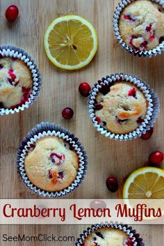 Muffins are the perfect food. Theyre great for anything from breakfast to after school snacks to midnight treats. These Cranberry Lemon Muffins are delicious and full of flavor! Lemon Cranberry Muffins, Lemon Muffins, Cranberry Recipes, Holiday Recipes, Best Breakfast Recipes, Brunch Recipes, Dessert Recipes, Vegan Breakfast, Dessert Ideas