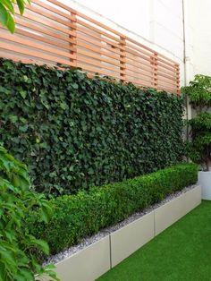 Low Maintenance Stunning Green Wall Garden – Gorgeous Fence Ideas and Designs Vertical Garden Design, Garden Design Plans, Modern Garden Design, Backyard Garden Design, Modern Design, Low Maintenance Backyard, Low Maintenance Garden Design, Artificial Green Wall, Modern Courtyard