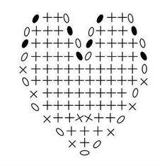 patrón de corazón a crochet