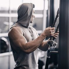 s Bodybuilding Sporting Hoodies Cotton Sleeveless Hoodie Tracksuit Tops Muscle Slim Fit Gyms Casual Workout Clothes Outdoor Workouts, Gym Workouts, Male Fitness Models, Mens Fitness Model, Fitness Men, Push Workout, Gym Photos, Body Building Men, Fitness Photoshoot