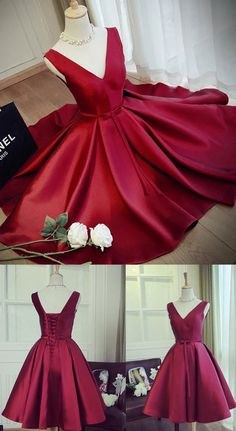 Prom Dresses 2017, Short Prom Dresses, 2017 Prom Dresses, Burgundy Prom Dresses, Prom Dresses Short, Burgundy Homecoming Dresses, Short Homecoming Dresses, Homecoming Dresses 2017, 2017 Homecoming Dress Satin V-neck Bowknot Burgundy Short Prom Dress Party Dress