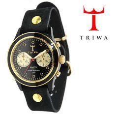 TRIWA(トリワ)×Tarnsjons レザー リストウォッチ 腕時計 ブラック×ゴールド【送料無料】 wc-triwa-046