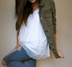 Green army jacket, white top