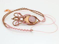 Macrame necklace with rose quartz set in copper