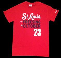 St Louis Stl Cardinals inspired T shirt - Freesing in October. Post Season David Freese - Priority Shipping