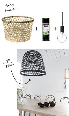 DIY Basket Pendant Lamp  #DIY #Basket #Pendant http://diymakeit.com/diy-basket-pendant-lamp/