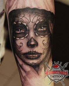 Black and Grey (with a small touch of blue in the eyes) muerte piece from Ivan Bor at hammersmith tattoo, as we all know Ivan is the master when it comes to these pieces, normally done in colour it is great to see Ivan turn his hand to the black and grey version