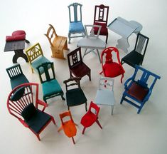 """Miniature chairs modelled after modern design classics and antique styles. (Part of the """"Chairclub"""" -- Build your own minichairs)"""