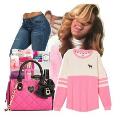 """""""PiNK Couture """" by fresh-beautyx ❤ liked on Polyvore featuring adidas, Betsey Johnson and Victoria's Secret PINK"""