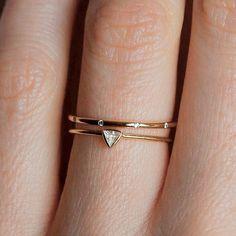 Custom diamond triangle ring || #nyc #custom #suzybjewelry