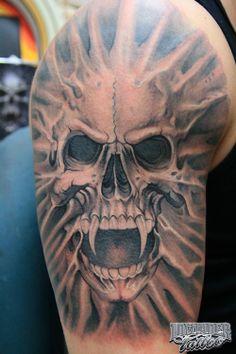 2d876310c Paul Booth tattoo Jose Lopez Tattoo, Skeleton Tattoos, Skull Tattoos, 3d  Tattoos,
