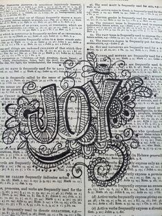 Dictionary Art, pen and ink.
