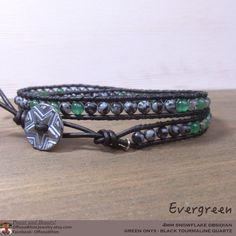 Evergreen Bracelet/ Green and Black Onyx Japanese Power Stone Leatherwrap Bracelet by OffOnAWhim  #Bracelet #jewelry #leatherwrap #unisex #Japanese #stone #onxy #obsidian #onyx #blackAndGreen