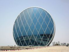 Aldar Headquarters in Al Raha Beach, United Arab Emirates is the first upright circle-shaped building in the Middle East.