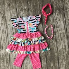 Pink & Floral with Polka-dots Boutique Outfit with matching accessories