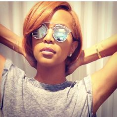 Short relaxed african american hairstyle - beautiful color for the summer