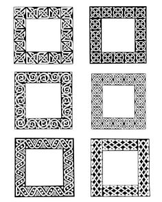 Dover Samples Celtic Frames and Borders Celtic Patterns, Celtic Designs, Flora Frame, Celtic Border, Pyrography Designs, Stencils, Doodle Frames, Decorative Lines, Wooden Pattern