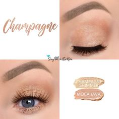 Champagne Eye Duo uses two SeneGence ShadowSense: Champagne Shimmer and Moca Java.  These creme to powder eyeshadows will last ALL DAY on your eye.  #shadowsense #duo #shadowsenseduo #eyeshadow #champagne