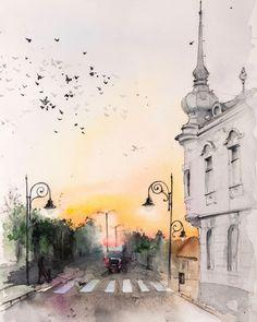 """""""Rendez-vous"""" watercolor, 2018 painted by Raluca Judet Watercolor And Ink, Watercolor Paintings, Visit Romania, Places, Artist, Landscapes, Poster, Instagram, Paisajes"""