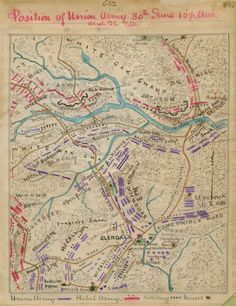 Maps of Glendale, Virginia - Position of the Union Army 30th June 1862 10 1/2 a.m. and 2 1/2 p.m