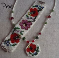 Beaded Necklace n Bracelet Peyote Patterns, Beading Patterns, Seed Bead Earrings, Seed Beads, Beaded Embroidery, Embroidery Patches, Beaded Jewelry, Beaded Bracelets, Beaded Necklace