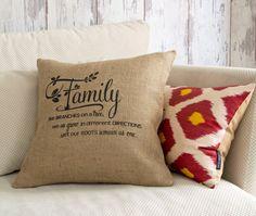 Family Pillow Cover  Garden Decor Family Like by pillowmeRustic