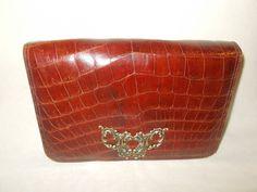 Beautiful Brown vintage crocodile clutch bag or shoulder bag 1960'S by VintageHandbagDreams on Etsy