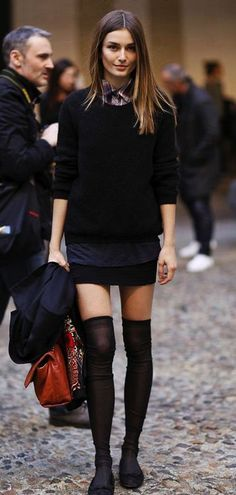 Street chic - love the opaque socks with flats