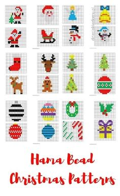 Christmas decorations of ironing beads - printable templates Hama . - Christmas decorations of ironing beads – printable templates Hama Bead Christmas pattern - Beaded Christmas Decorations, Christmas Perler Beads, Beaded Ornaments, Christmas Cross, Christmas Diy, Christmas Patterns, Christmas Movies, Diy Ornaments, Homemade Christmas