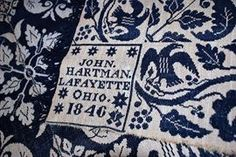 John Hartman Lafayette, Ohio C. 1840s Woven Coverlet