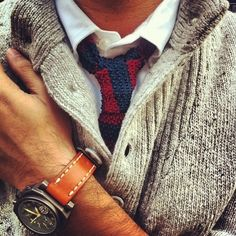 """""""Perfect for toning down a crisp collar or sharpening up a soft shirt, the woollen tie is the neckwear option de nos jours."""" GQ. This is one of our favourite trends for men! Finis it of with a tanned sued watch strap like this one for a dressy yet casual look. #3shahs #KnitTie"""