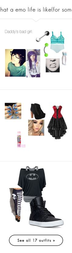 """""""what a emo life is like(for some)"""" by hansen-justin ❤ liked on Polyvore featuring Cosabella, emo, plus size clothing, Jeffrey Campbell, love, Sexy, cosplay, Supra, Wassup and art"""