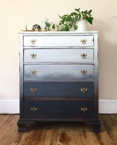 Girl In Blue Designs :l: CeCe Caldwell's Chalk + Clay Paint :l: Vermont Slate :l: Simply White :l: Ombre :l: Mixed and Blended :l: Painted Chest :l: Painted Furniture