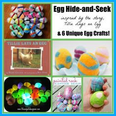 Playing egg hide-and-seek inspired by Tillie Lays an Egg (with a roundup of 6 egg crafts to use for the game)