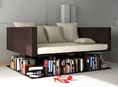 Ransa sofa gives the impression of levitating above the books.