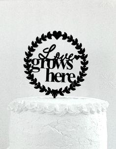 Love Grows Here Cake Topper  Custom Wedding от CakeTopperDesign