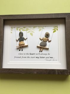 """""""Sisters""""pebble art framed in shadow box.Makes a great birthday gift, n… """"Sisters""""pebble art framed in shadow box.Makes a great birthday gift, nursery decor,sure to evoke childhood memories. Thanks for your interest - Sea Glass Crafts, Sea Glass Art, Seashell Crafts, Stone Crafts, Rock Crafts, Arts And Crafts, Easy Crafts, Stone Pictures Pebble Art, Stone Art"""