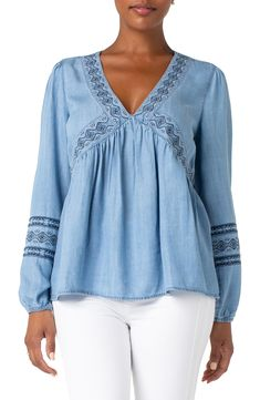 Women's Liverpool Embroidered Neck Peasant Top, Size X-Large - Blue Peasant Blouse, Peasant Tops, Tunic Tops, Beautiful Suit, Beautiful Blouses, Boho Chic, Bohemian, Hipster Looks, Chambray Top