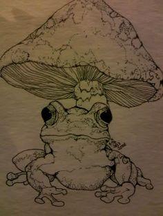 Indie Drawings, Cool Art Drawings, Art Drawings Sketches, Mushroom Drawing, Mushroom Art, Art Journal Inspiration, Art Inspo, Dessin Old School, Arte Peculiar